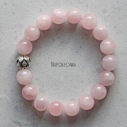 Браслеты - Браслет из розового кварца и серебра 925 пробы, 0