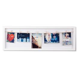 Фоторамки - Панно с зажимами для 7 фото clothesline белое, 0
