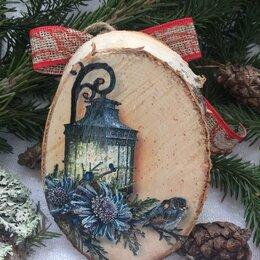 Новогодний декор и аксессуары - Медальоны новогодние на спилах дерева с винтажными картинками, 0