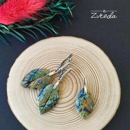 Комплекты - Серебряные серьги и кулон с хризоколллой., 0