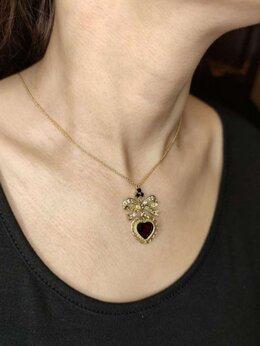 Кулоны и подвески - Колье Dolce&Gabbana, золото, сапфиры, гранат, 0