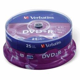 Диски - Диски DVD+R (плюс) VERBATIM 4,7 Gb 16x, КОМПЛЕКТ…, 0
