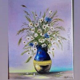 Картины, постеры, гобелены, панно - Букет полевых цветов ромашки картина маслом на холсте от nataly_art_tag , 0