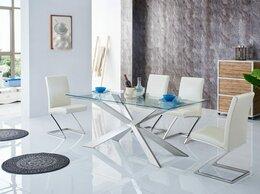 Столы и столики - Обеденный стол со стеклянной столешницей 90х180…, 0