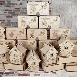 Новогодний декор и аксессуары - Новогодние коробки для подарков из фанеры., 0