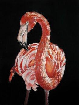 Картины, постеры, гобелены, панно - портрет фламинго пастель, 0
