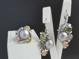 Комплекты - Комплект из серебра с жемчугом и оливином и…, 0