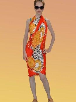 Пляжная одежда - Красное парео Leo с леопардовым принтом, 0