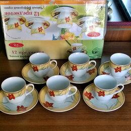 Сервизы и наборы - Фарфоровый чайный сервиз. Новый сервиз тонкого фарфора. , 0