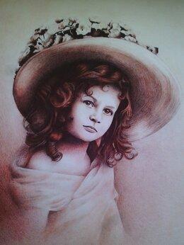 """Картины, постеры, гобелены, панно - Портрет """"Девочка в шляпе"""", 0"""