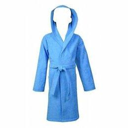 Домашняя одежда - Халат детский махровый ЭЛИТ с капюшоном 012-Голубой 128/134, 0