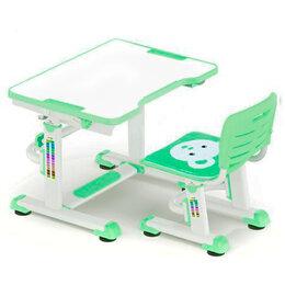 Компьютерные и письменные столы - Растущая парта и стул BD-08 Teddy green белая,…, 0