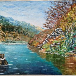Картины, постеры, гобелены, панно - Сахалинский пейзаж Мишка. Картина маслом, холст на ДВП 60х90, 0
