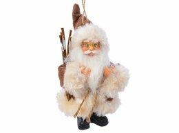Новогодние фигурки и сувениры - САНТА-МАЛЮТКА с хворостом, в коричневом костюме,…, 0