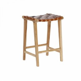 Стулья, табуретки - Табурет деревянный с кожаным сиденьем бежевый…, 0