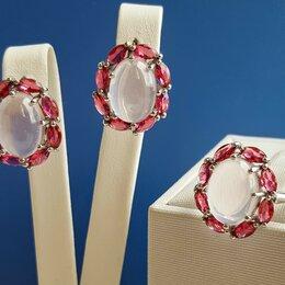 Комплекты - Серебряный комплект с натуральным розовым кварцем и рубинами, 0