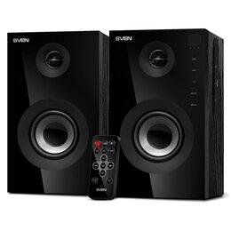 Компьютерная акустика - Колонки Sven SPS-615, 2*10W, Bluetooth, деревянный корпус, SD, пульт, черный, 0