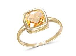 Кольца и перстни - Кольцо с цитрином из жёлтого золота, 0