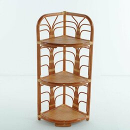 Плетеная мебель - Этажерка угловая с 3 полками коньяк Calamus Rotan, 0