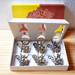 Рюмки и стопки - Сувенирный набор из 6 шт. стопок с подстаканниками под ликёр (стекло) СССР, 0