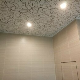 Потолки и комплектующие - Дизайнерский глянцевый натяжной потолок с установкой, 0