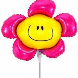 """Украшения и бутафория - Воздушный шарик на палочке 14""""/36см Цветок, розовый, 0"""