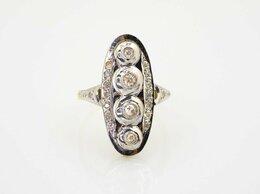 Кольца и перстни - Золотое кольцо с бриллиантами. СССР. 750 проба, 0