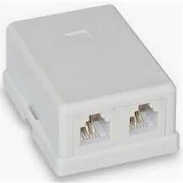 Электроустановочные изделия - Розетка телефонная настенная RJ-11/12, 6P4C, 2 порта, 0