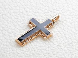 Кулоны и подвески - Крест с 14 фианитами из красного золота, 0