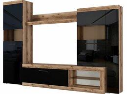 Шкафы, стенки, гарнитуры - Стенка Бастон дуб делано/черный глянец, 0