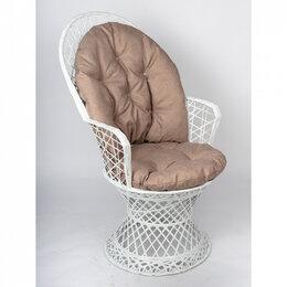 Плетеная мебель - Кресло плетеное белое с коричневой подушкой Flandria, 0