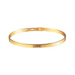 Браслеты - Серебряный жесткий браслет «Love» с позолотой, 0