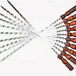 Шампуры - Шампура из толстой нержавейки с деревянной ручкой, 0
