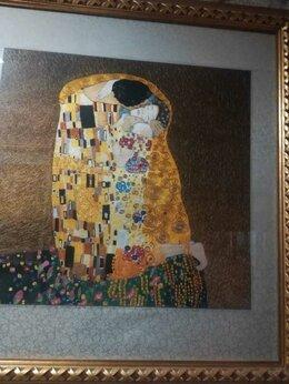 """Картины, постеры, гобелены, панно - Вышитая шелком по шелку картина """"Поцелуй """" Г…, 0"""