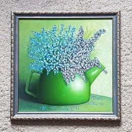 """Картины, постеры, гобелены, панно - Картина с багетом """"Чайничек с цветами"""" 45х45см, масло, холст, 0"""