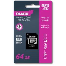 Карты памяти - Карта памяти OLMIO microSDXC 64GB Class 10 UHS-I, c адаптером, 0