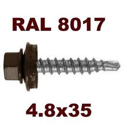 Шурупы и саморезы - Саморез кровельный металл/дерево 4,8х35 RAL 8017, 0