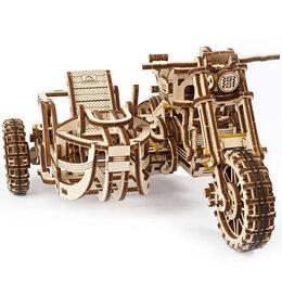Сборные модели - Мотоцикл с коляской Scrambler UGR-10, деревянный конструктор UGEARS, 0