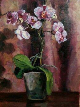Картины, постеры, гобелены, панно - Этюд с орхидеей , 0