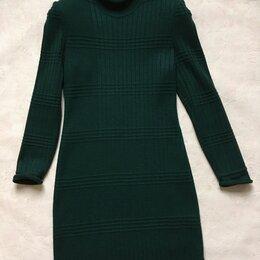 Платья - Платье трикотажное зеленое длинное зимний вариант, 0