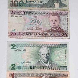 Банкноты - Банкноты Литва 1993,1994г: 1, 2 и 20 лит, оригинал, 0