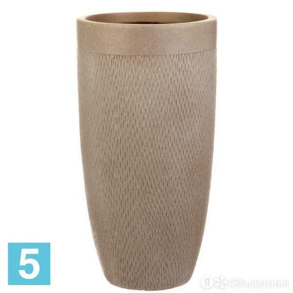 Высокое кашпо IDEALIST LITE Лотус круглое, серо-коричневое 30-d, 58-h по цене 4373₽ - Горшки, подставки для цветов, фото 0