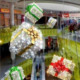Новогодний декор и аксессуары - Светодиодная фигура Куб с бантом 100 см, подарок, 0