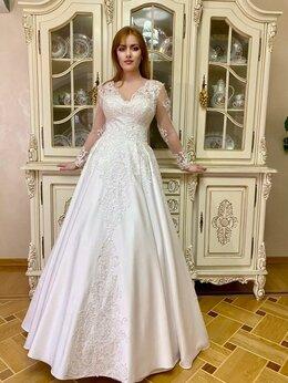 Платья - Королевское атласное свадебное платье с кружевом, 0