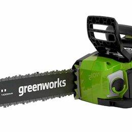 Электро- и бензопилы цепные - Цепная пила аккумуляторная GreenWorks  GD40CS18, 40V, 40 см, бесщеточная без ..., 0