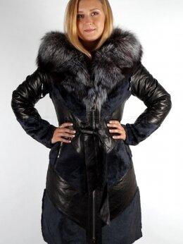 Пуховики - Продам новое кожаное пальто-пуховик с нат. мехом, 0