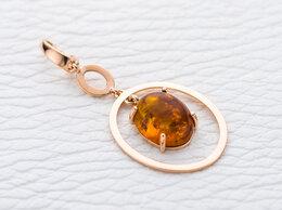 Кулоны и подвески - Подвеска с янтарём из красного золота, 0