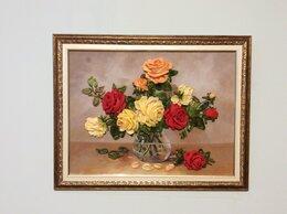 Картины, постеры, гобелены, панно - Вышивка лентами картина «Красивые розы», 0