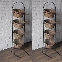 Горшки, подставки для цветов - Напольная стойка (4 корзины) 140*40 см, 0