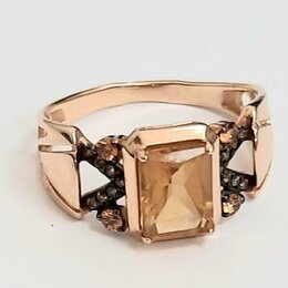 Кольца и перстни - Золотое кольцо с цитринами, 18,5, 0